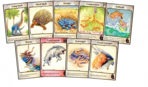 Some of the trait cards from evolution