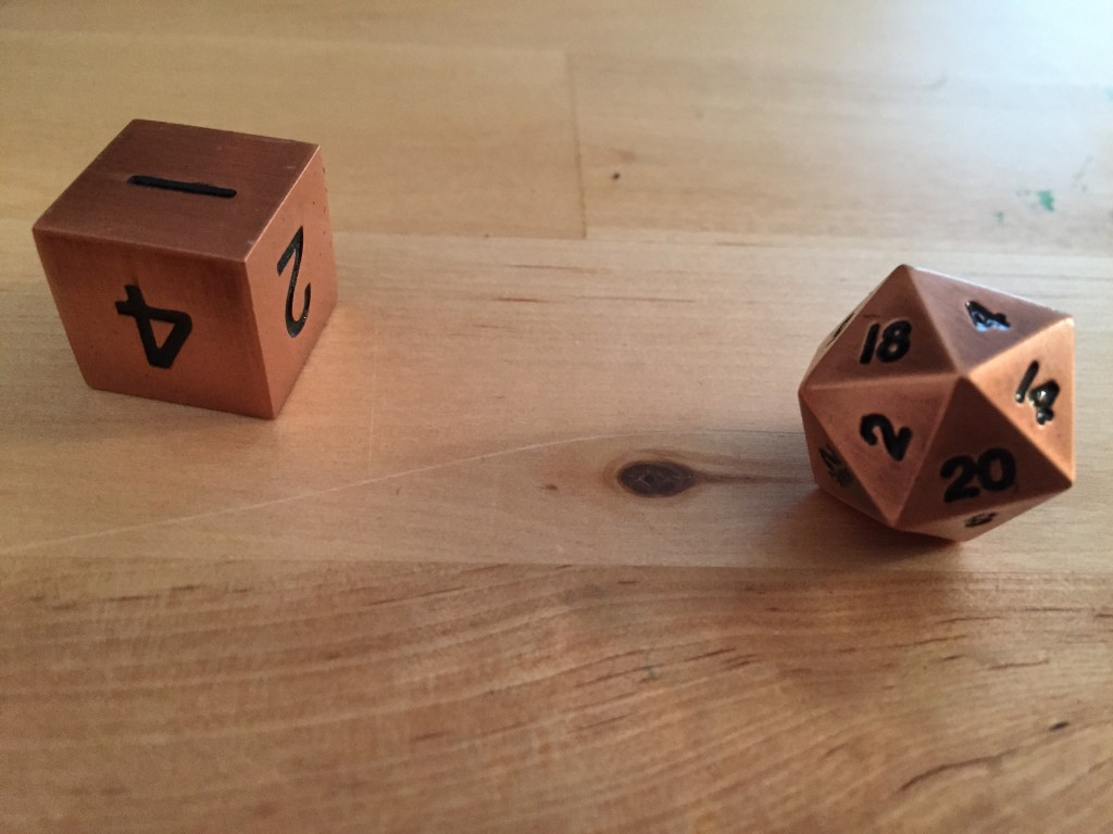 Copper Metal Polyhedral Dice in Action