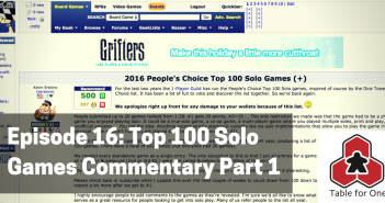 Table for One Episode 16 – Top 100 Solo Games Commentary Part 1